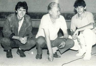 Péter Karácsonyi, Bogdan Georgescu şi Szűcs József în 1990 la Năvodari
